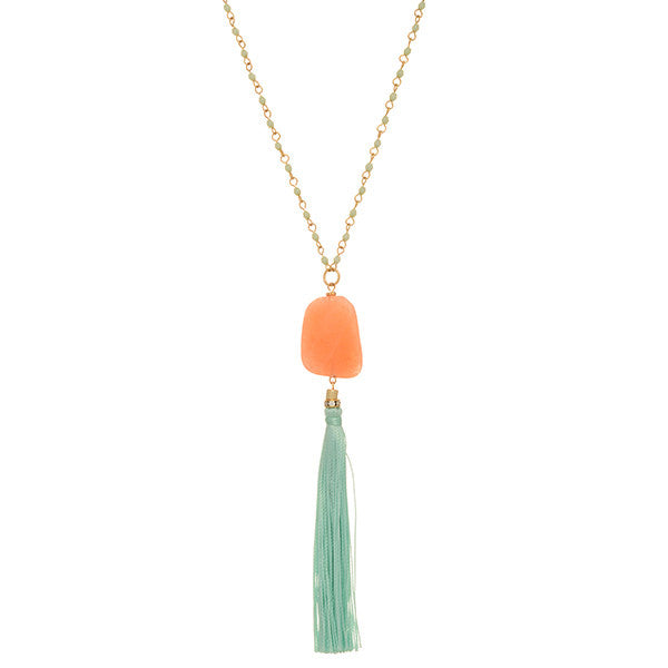 Olivia Stone and Tassel Necklace
