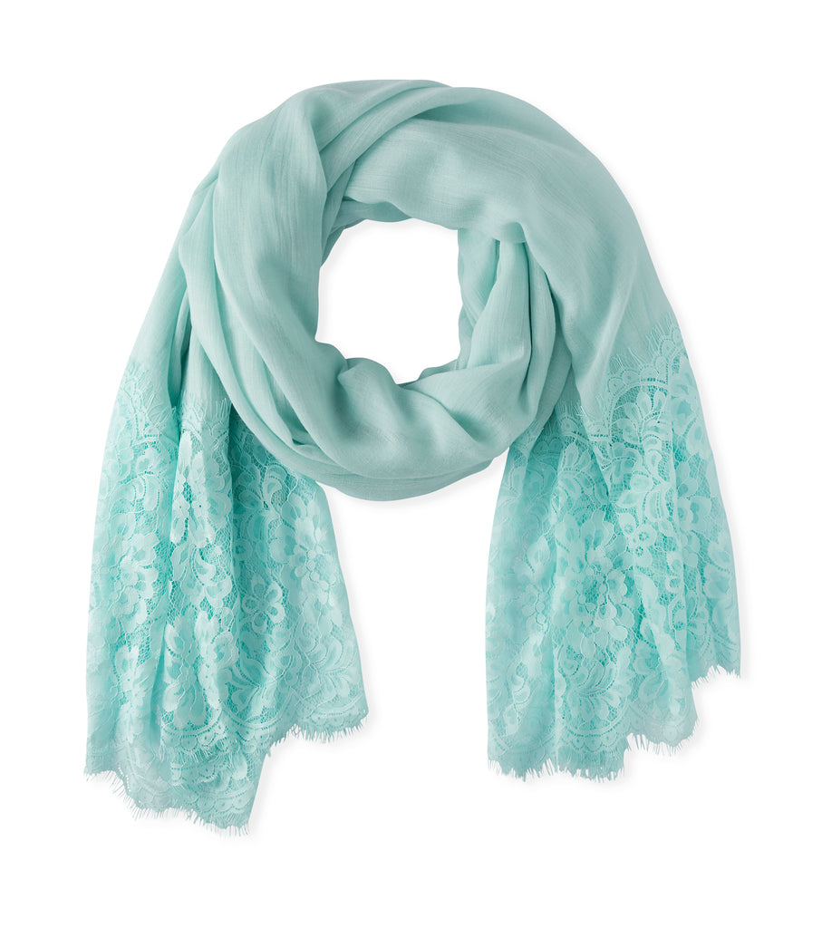 Lace Detail Scarf in Teal