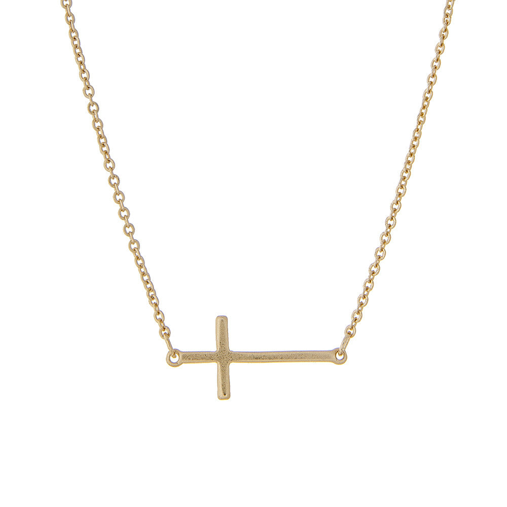 Cross Necklace in Gold + Gift Box