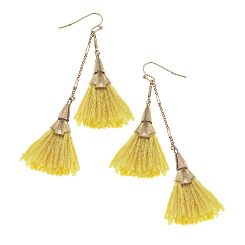 Two-Tiered Fringe Earrings in Yellow