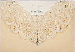 50X Wishmade Gold Laser Cut Flora & Lace Wedding Invitations Lace