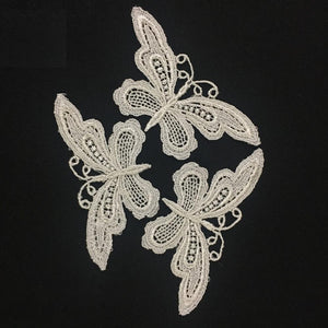 "4 Pieces, Pretty Slim Venise Lace Butterfly Applique, 2"" X 3.5"""