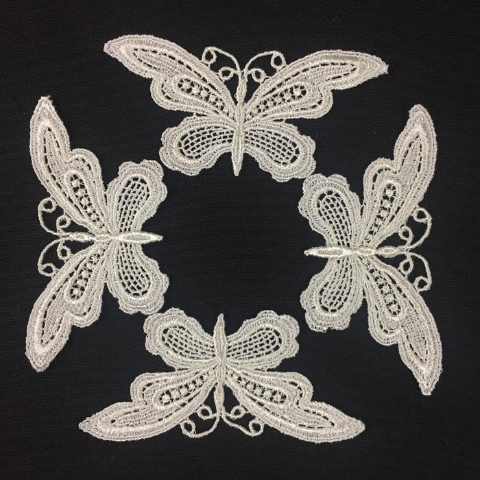"Butterfly Applique Lace Embroidery Venise Piece Motif Patch 1.5""x3.5"" Choose Color, Multi-Use ex. Garments Costume DIY sewing Arts Crafts."