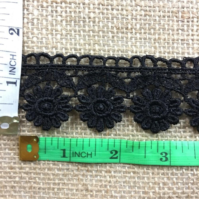 "Trim Lace Daisy Sunflower Venise by the Yard, 1.5"" Wide, Black. Multi-use ex. Garments Veils Decorations Crafts Scrapbooks Tops Costumes."