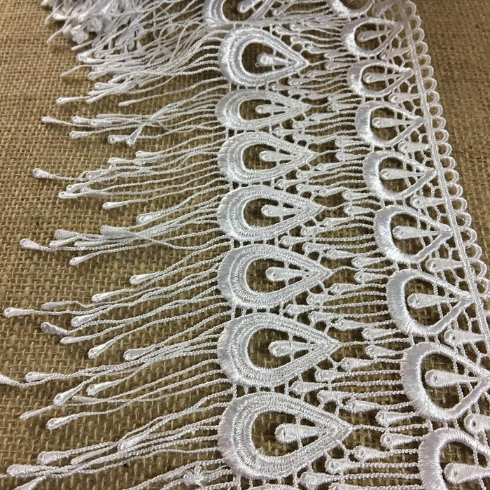 "Lace Trim Peacock Fringe Design, Multiple Colors Available, 6"" Wide. Multi-use Ex. Garments, Bridal, Veils, Tops, Slip Extenders, Costumes"