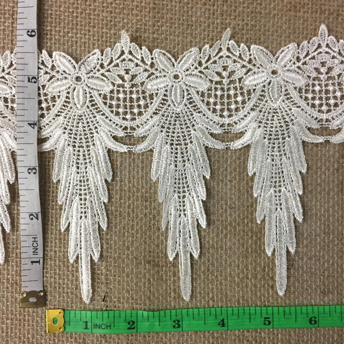 "Trim Lace Holiday Amaryllis Goatee Design Venise by the Yard, 6"" Wide. Choose Color. Multi-use ie Garments Bridals Slip Extenders Costumes"