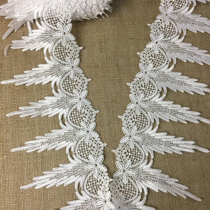 "Lace Trim Puff Clouds White 1"" Wide Wave Puff Cloud Venise. Many Uses ex: Wedding Edging Garments Decorations Crafts Veils Tops Costumes."