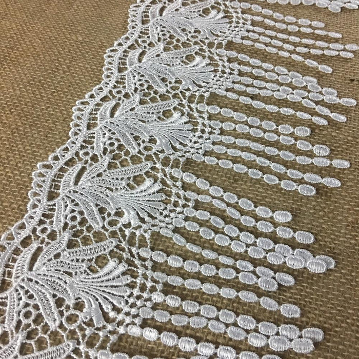 "Fringe Trim Lace Quality Venise by the Yard, 6"" Wide. Choose Color. Multi-use ie Garments Bridals Slip Extenders Costumes Veils Crafts"