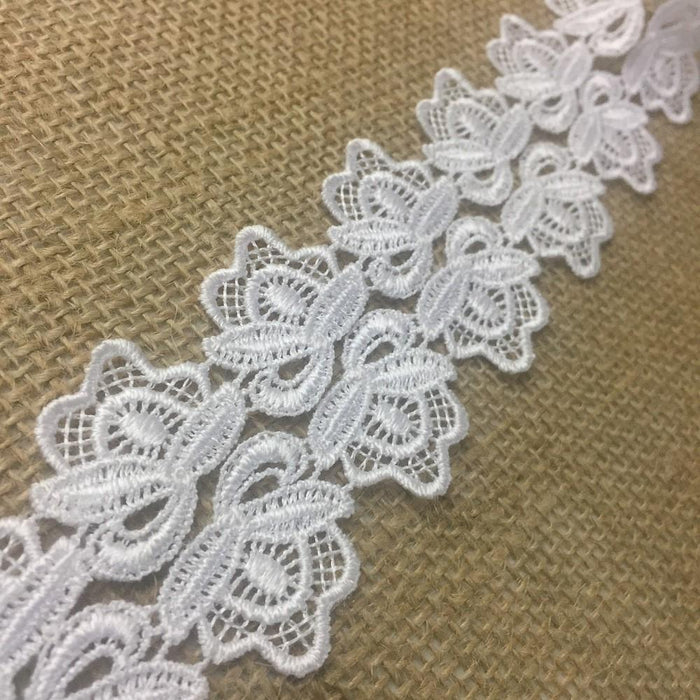 "Trim Lace Rosettes Venise by the Yard, 1.25"" Wide. Available in Multiple Colors. Multi-use ie Garments Bridals Crafts Veils Costumes"