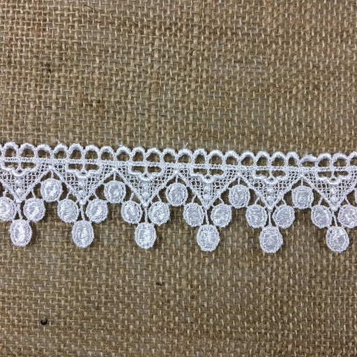 "Trim Lace Triangle Dots Design Venise by the Yard, 1.5"" Wide. White. Multi-use ie Garments Bridals Veils Costumes Crafts ScrapbooksTrim Lace Triangle Dots Design Venise by the Yard, 1.5"" Wide. White. Multi-use ie Garments Bridals Veils Costumes Crafts Scrapbooks"