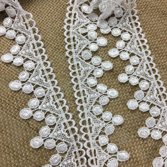 "Trim Lace Triangle Dots Design Venise by the Yard, 1.5"" Wide. White. Multi-use ie Garments Bridals Veils Costumes Crafts Scrapbooks"
