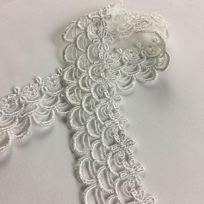 "Trim Lace Mini Drapes Design Venise by the Yard, 1.25"" Wide. White. Multi-use ie Garments Bridals Veils Costumes Crafts Scrapbooks"