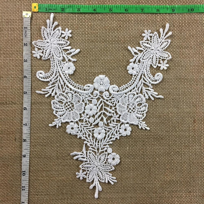 "Lace Applique Piece Victorian Garden Embroidery Venise Yoke Neckpiece, 9""x11"", White. Multi-use ex. Garments Bridal Tops Costumes Crafts"