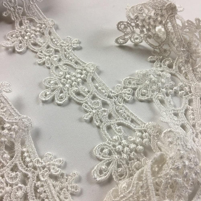 "Lace Trim Royal Traditional Design Venise Lace 2"" Wide. Choose Color. Multi-Use ex. Garments Bridal Decorations Arts Crafts Veils Costumes"
