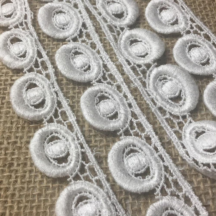 "Lace Trim Pearl Scallops Design Venise Lace 3/4"" Wide. Off White. Multi-Use ex. Garments Bridal Tops Decorations Arts Crafts Veils Costumes"