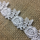 "Lace Trim Rose Flower Design Venise 1"" Wide. Available in Multiple Colors. Multi-Use ex. Garments Tops Decorations Arts Crafts Costumes"