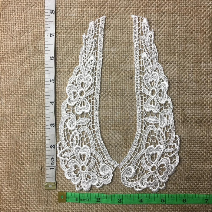Lace,Collar,Pair,Venise,Judges,Lace,Collar,Pretty,Floral,Design,Embroidered,Guipure,Chemical,Venise,Venice,Collar,Yoke,Lace,Bridal,Decorations,Invitations,Arts and Crafts,Scrapbook,Casket,Coffin Ribbon,Victorian,Traditional,DIY Clothing,DIY Sewing,Proms,B