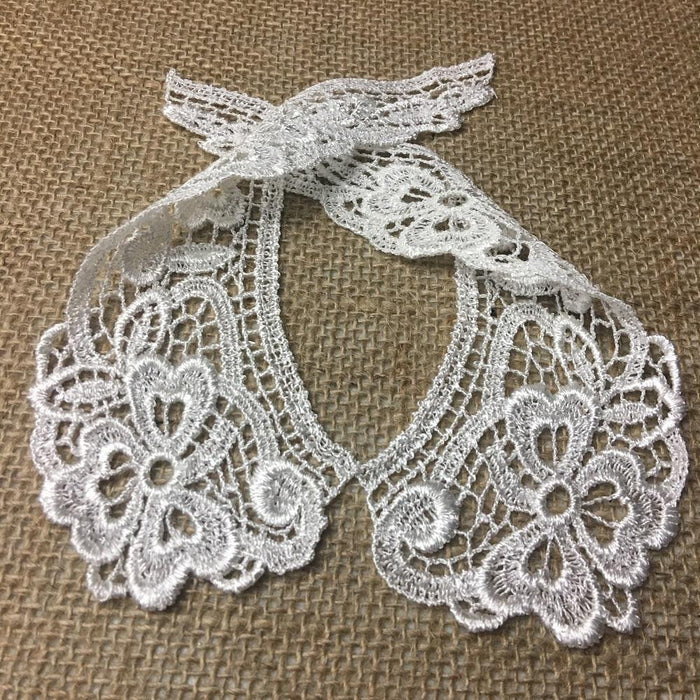 "Lace Collar Pair Venise, Judges Lace Collar Pretty Floral Design Embroidered, 7"" long, Choose Color. Multi-use ex. Garments Costume Crafts"