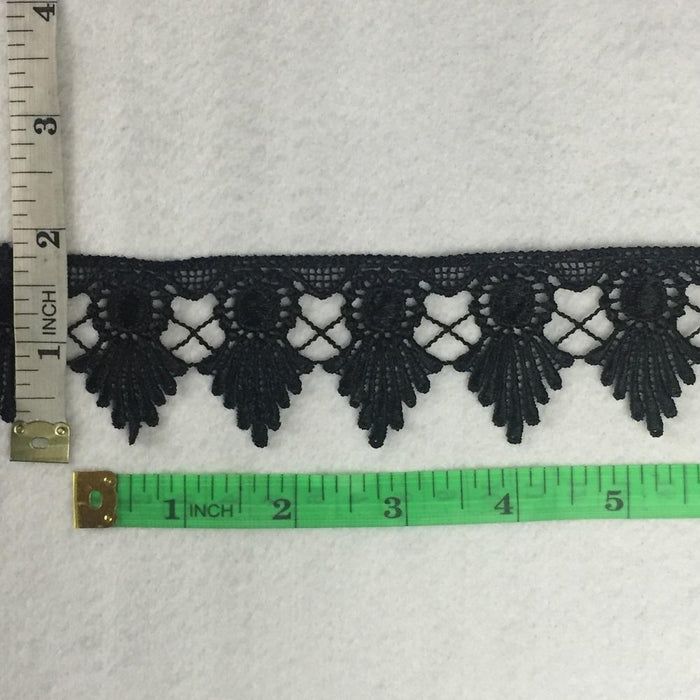 "Lace Trim Royal Crown Design Venise 1.75"" Wide. Available in Multiple Colors. Multi-Use ex. Garments Tops Decorations Arts Crafts Costumes"