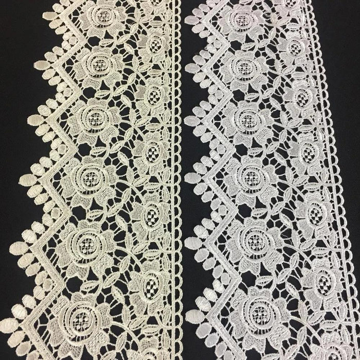 "Lace Trim Rose Floral Geometric Scallops Venise by the Yard 5"" Wide. Available in Multiple Colors. Multi-Use ex. Garments Slip Extender"