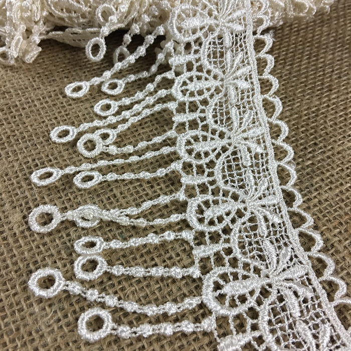 "Lace Trim Pineapple Fringe Venise 3"". Available in Multiple Colors. 100% Rayon, Multi-Use ex. Garments Tops Slip Extenders Decorations Crafts Veils"