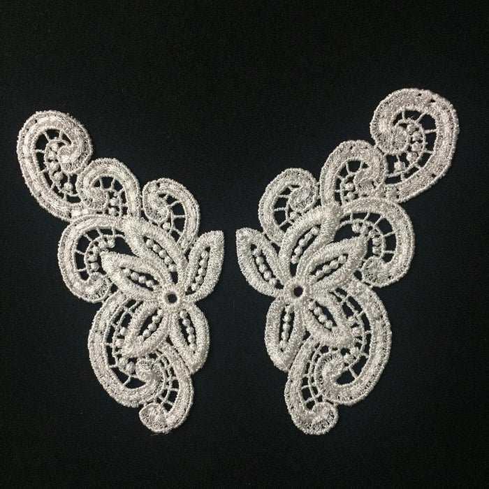"Lace Applique Pair Venise Curls Design Embroidered, 6"" long, Choose Color. Multi-use ex. Garments Costumes Crafts DIY Sewing Scrapbooks"