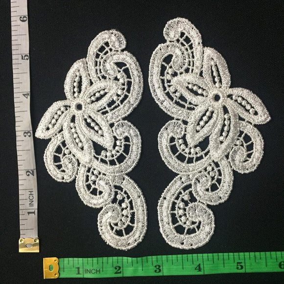 Lace Applique Pair Venise Curls Design Embroidered, 6