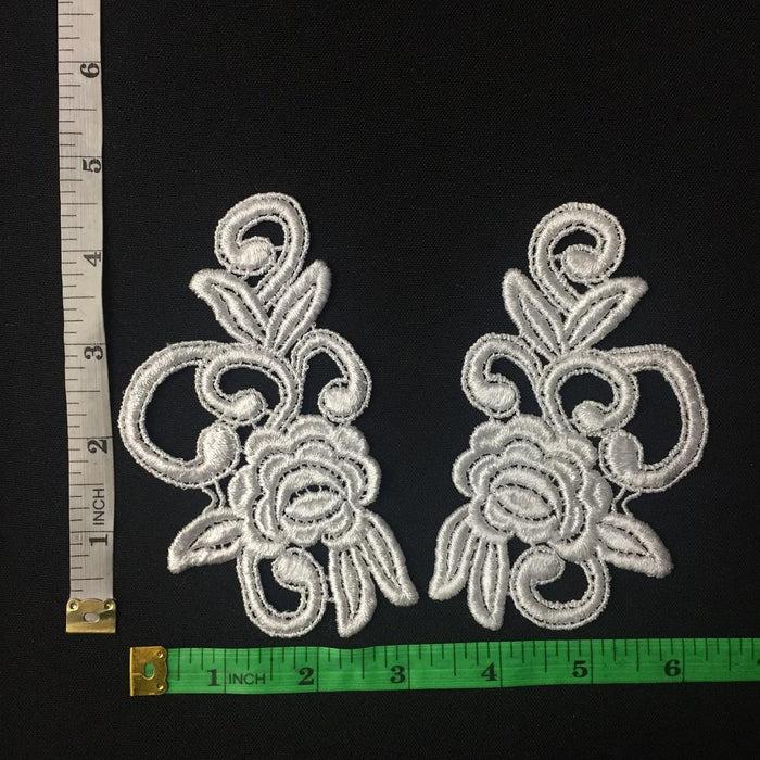 "Lace Applique Pair Venise Rose Design Embroidered, 5"" long, Choose Color. Multi-use ex. Garments Tops Costumes Crafts DIY Sewing Scrapbooks"