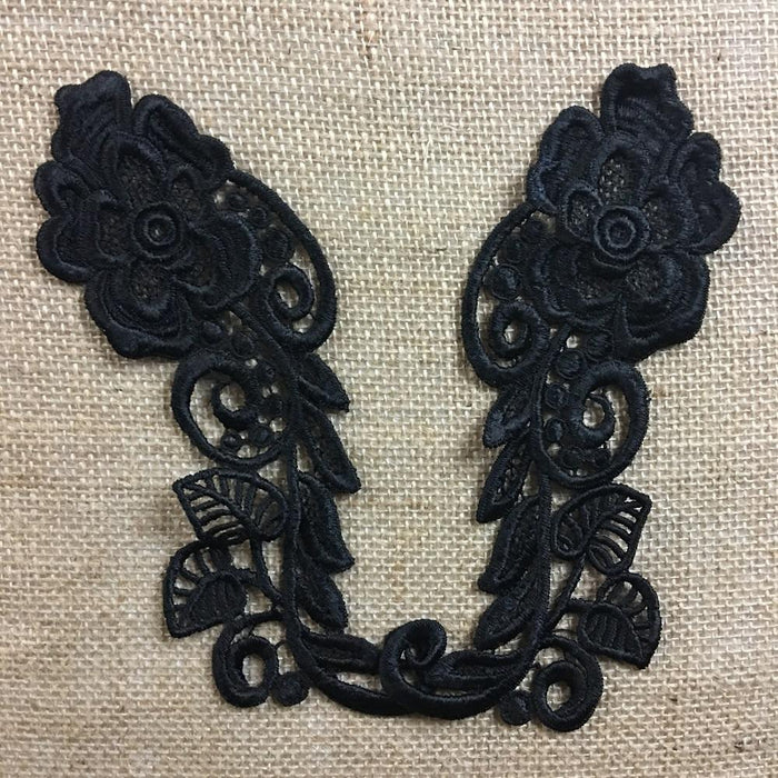 "Lace Applique Pair Quality Venise Flower Design Embroidered, 8"" long, Choose Color. Multi-use ex. Garments Tops Costumes Crafts DIY Sewing"