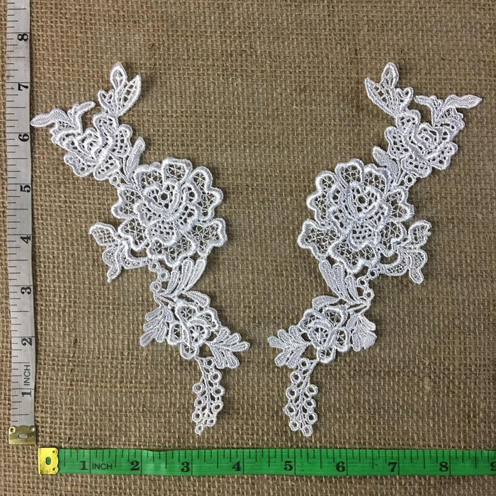 "Lace Applique Pair Fancy Venise Flower Design Embroidered, 7"" long, Choose Color. Multi-use ex: Garments Tops Costumes Craft DIY Sewing"