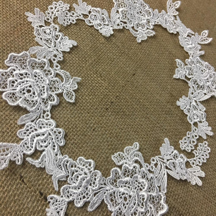 Lace,Applique,Pair,Beautiful,Venise,Flower,Design,Embroidered,Guipure,Chemical,Venice,Collar,Yoke,Lace,Bridal,Decorations,Invitations,Arts and Crafts,Scrapbook,Casket,Coffin,Ribbon,Victorian,Traditional,DIY Clothing,DIY Sewing,Proms,Bridesmaids,Encaje,A01