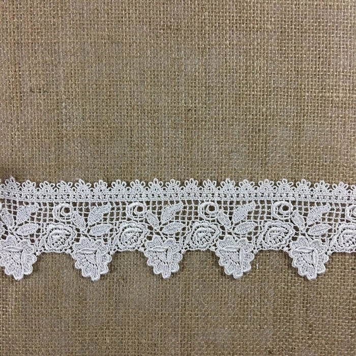 "Trim Lace Flower Garden Design Venise by the Yard, 2.75"" Wide. White. Multi-use ie Garments Bridals Veils Costumes Crafts Scrapbooks"