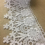 "Trim Lace Floral Geometric Venise by the Yard, 4.75"" Wide, Choose Color, Multi-Use Garment Veil Slip Extender Bridal Crafts Costumes DIY Sewing Decoration"