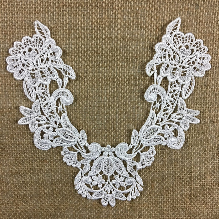 Applique,Lace,Piece,Embroidery,Venise,Yoke,Neckpiece,Guipure,Chemical,Venice,Applique,Collar,Yoke,Lace,Bridal,Decorations,Invitations,Arts and Crafts,Scrapbook,Casket,Coffin,Ribbon,Victorian,Traditional,DIY Clothing,DIY Sewing,Proms,Bridesmaids,Encaje,A02