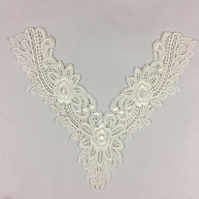 "Applique Lace Piece Floral Harmony Embroidery Venise Yoke Neckpiece, 11""x11"", Ivory, Multi-use Garments Tops Bridal Costumes Arts Crafts DIY Sewing"