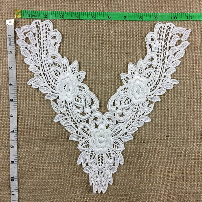 "Applique Lace Piece Floral Embroidery Venise Yoke Neckpiece, 11""x11"", Ivory, Multi-use Garments Tops Bridal Costumes Arts Crafts DIY Sewing"