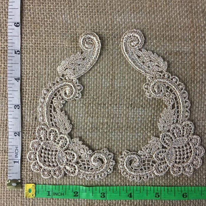 Lace,Applique,Pair,Venise,Rose,Design,Embroidered,Guipure,Chemical,Venice,Collar,Yoke,Lace,Bridal,Decorations,Invitations,Arts and Crafts,Scrapbook,Casket,Coffin,Ribbon,Victorian,Traditional,DIY Clothing,DIY Sewing,Proms,Bridesmaids,Encaje,A0250N8