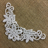 "Lace Applique Motif Piece Embroidery Venise Patch 6"" Long, Choose Color.Multi-Use ex: Garments Bridals Costumes Invitations Scrapbooks"