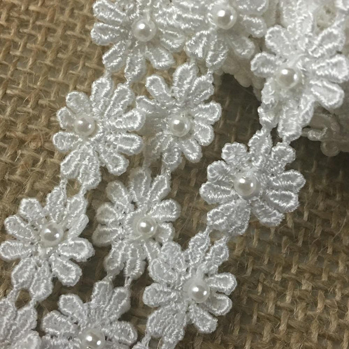 "Lace Trim Daisy 1/2"" Wide Pearl Beaded Quality Venise. White. Multi-Use ex. Garments Bridals Decorations Arts Crafts Costumes Scrapbooks"
