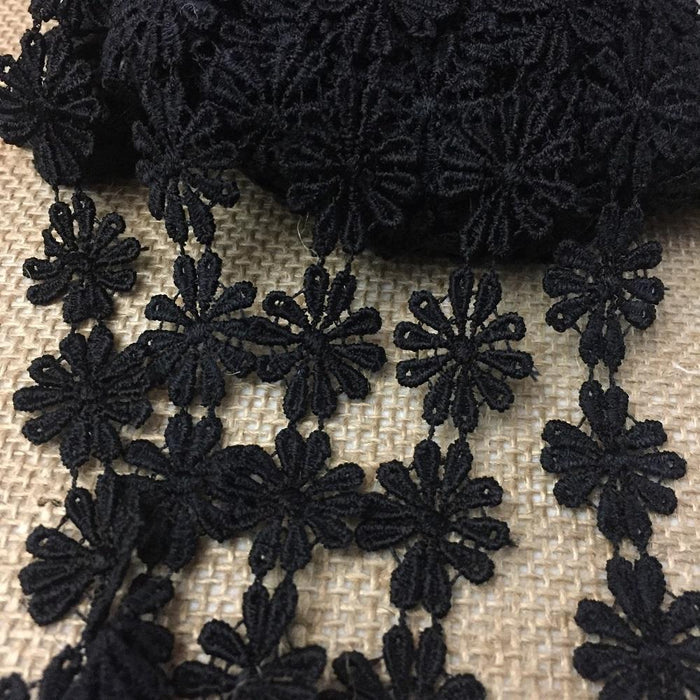 "Lace Trim Daisy 1"" Wide Quality Venise. Choose Color. Multi-Use ex: Garments Bridals Tops Belt Sash Waistband Decorations Crafts Costumes"