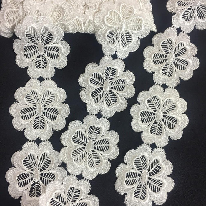 "Lace Trim Flower Face Detailed Venise 2.5"" Wide, Choose Color. Multi-Use ex: Garments Tops Belt Sash Waistband Decorations Crafts Costumes"