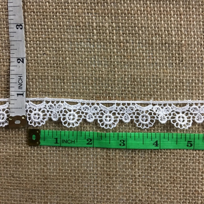 "Trim Lace Floral 3/4"" Wide Quality Venise. Choose Color. Multi-Use ex. Garments Tops Bridals Decorations Crafts Costumes Veils Scrapbooks"