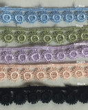 "Trim Lace Floral 1/2"" Wide Fine Eyelash Circles Venise. Choose Color. Multi-Use ex. Garments Bridals Decorations Crafts Costumes Scrapbooks"