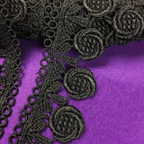 "Trim Lace Venise Floral Design, 1.5"" Wide, Black, Multi-Use Garments Tops Decorations Arts Crafts Dance & Theater Costumes Veils DIY Sewing Scrapbooks"