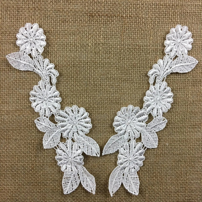 "Applique Pair Lace Venise Floral Design Embroidered, 9"" long, White, Multi-use Garments Tops Bridal Craft DIY Sewing Decoration Scrapbooks"