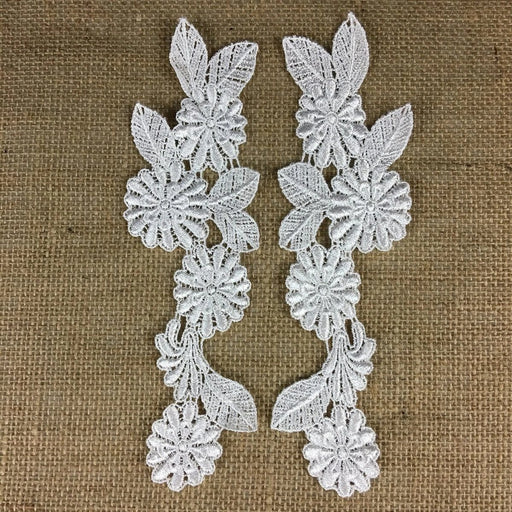 "Applique Pair Lace Venise Floral Design Embroidered, 9"" long, White, Multi-use Garments TopsBridal Craft DIY Sewing Decoration Scrapbooks"