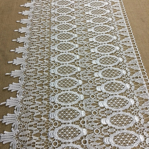 "Wide Trim Lace Venise, 18"" Wide, White, Pineapple Design, Multi-Use Garments Tops Bridal Veil Table Runner Decorations Crafts Costumes"