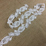 "Lace Trim Flowers on Stem Venise Double Border, 2"" Wide, White. Multi-Use Garments Tops Veil Dresses Bridal Decoration Craft Costume"