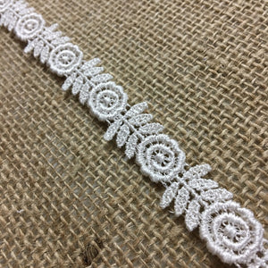 "Trim Lace Venise Happy Flower Double Border, 0.5""+ Wide, Ivory, Multi-Use Garments Tops Bridal Belt Sash Waistband DIY Sewing Crafts Costumes, Scrapbooks"