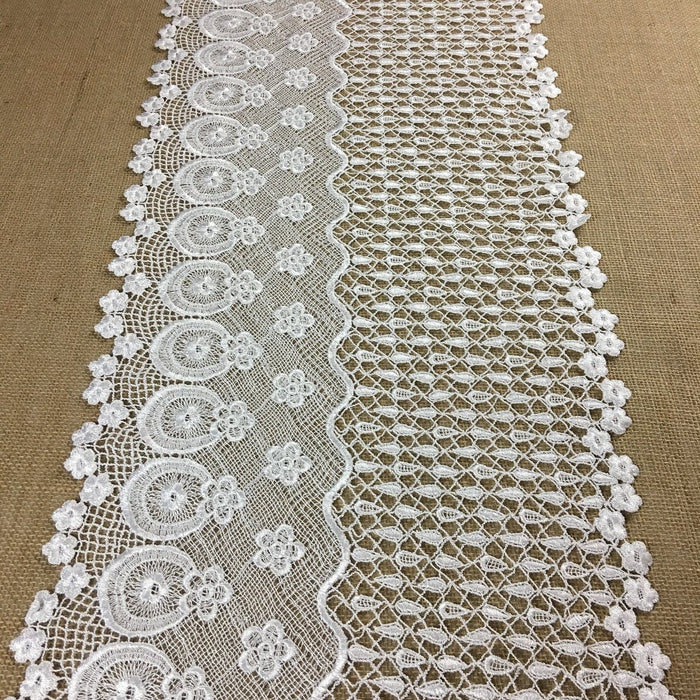 "Wide Trim Lace Venise Daisy Rain Wave Design, 13"" Wide, White, Multi-Use Garment Top Skirt Bridal Veil Table Runner Decorations Costumes Crafts"